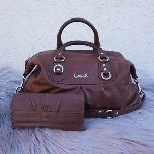 COACH Ashley Brown Carryall Satchel & Wallet